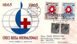 Fdc ReRu : CROCE ROSSA 1963 ; No Viaggiata; AF_Firenze - F.D.C.