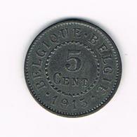 &-   ALBERT I  - 5 CENTIEM 1915 FR/ VL DUITSE BEZETTING - 03. 5 Centimes