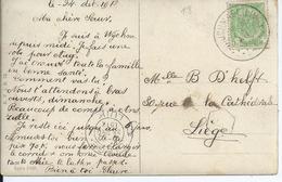 Fantasiekaart Met OCB 83 - Afstempeling WIJCHMAEL(LIMB) - COBA 15 - 1893-1907 Armoiries