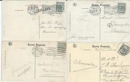 4 Fantasiekaarten Met Lijnstempel TERVUEREN  Verstuurd Via 4 Verschillende Kantoren - 1893-1907 Wapenschild