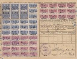 Fiscaux, Timbres Socio Postaux Alsace Sur Carte  .. Periode Allemande D'annexion ..  1 1913 .. Cote Timbres  73 Euro - Fiscaux