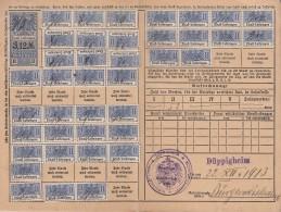 Fiscaux, Timbres Socio Postaux Alsace Sur Carte  .. Periode Allemande D'annexion ..  11 1912 .. Cote Timbres 27 Euro .. - Fiscaux