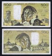 1975 Billet 500 Francs PASCAL F.6-11-1975.F. Série T.55. Numéro 16027. État : Voir Scans. Merci. - 1962-1997 ''Francs''