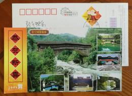 Rainhouse Bridge,stream & Waterfall,China 2008 Shouning New Year Greeting Advertising Postal Stationery Card - Bruggen