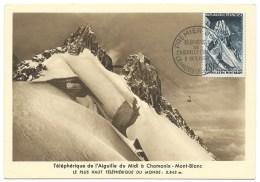 CARTE  / PREMIER JOUR TELEPHERIQUE DE L'AIGUILLE DU MIDI CHAMONIX 1958 / MONT BLANC - 1950-59