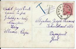 Fantasiekaart Met OCB 138 - Afstempeling EVERGEM 2 - 1915-1920 Albert I