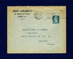 Francia - Sobre (año 1927) - Marcofilia (sobres)
