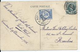 Fantasiekaart Met OCB 193 En Tx38 - 1922-1927 Houyoux