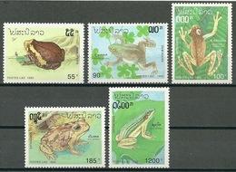 Laos – Mi.Nr. 1348-1352** Frog Toad [1993] - Frogs