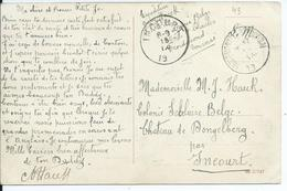 Portvrijdomkaart Verstuurd Van FROIDMONT-LEZ-TOURNAI ( 19-links) Naar INCOURT (19-links) - Poststempels/ Marcofilie