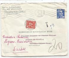GANDON 15FR VILLEFRANCHE 1953 LETTRE POUR CANNES REEXP EEN SUISSE TAXE 20C LUGANO - 1945-54 Marianne De Gandon