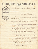 LETTRE CIRQUE SANDOVAL De 1926 - Manoscritti