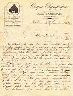 LETTRE CIRQUE OLYMPIQUE Jean SANDOVAL Directeur Propriétaire De 1926 Cheval - Manoscritti