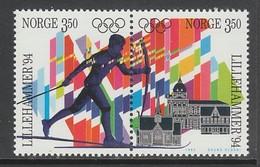 PAIRE NEUVE DE NORVEGE - JEUX OLYMPIQUES DE LILLEHAMMER, RELAIS DE LA FLAMME OLYMPIQUE EN NORVEGE N° Y&T 1096/1097 - Winter 1994: Lillehammer