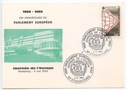 France 1983 Strasbourg, European Parliament 25th Anniversary Postcard - Commemorative Postmarks