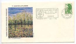 France 1984 Grasse Cover, Timbre Croix Rouge 1er Jour De La Flamme - Postmark Collection (Covers)