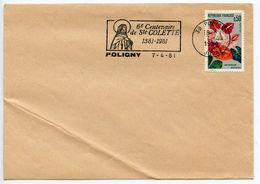 France 1981 Poligny Cover, 6th Centenary Of Saint Colette Postmark - Postmark Collection (Covers)