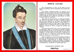 CHROMOS. Beurre PREVAL. Les Rois De France. HENRI III...C948 - Artis Historia