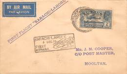 """INDIA - First Flight Cover """" Karachi To Lahore """" Used 6th December 1934 - India"""