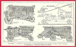 Batteuses, Machine à Grand Travail, Coupe Schématique D'une Batteuse, Motobatteuse..., Larousse 1951 - Vieux Papiers