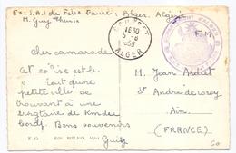 Carte D Algerie En Franchise Departement D Alger Sas Felix Faure Courbet - Postmark Collection (Covers)