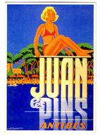 """{05865} CP Publicité Juan Les Pins Antibes , Reproduction , Carte Moderne ; Par Alexis Kow  1935 ,   """" En Baisse """" - Pubblicitari"""