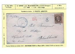 Un Timbre N° 30   Brun  A  GC 1404  + T 24 +P.D. Rouge émis En 1867  Enveloppe 1872  Destination Grande-Bretagne - 1863-1870 Napoléon III Lauré