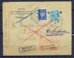Lettre-1338 Bouches Du Rhone Pétain 4f50 Recommandé Ensuès-la-Redonne Retour à L'envoyeur Convocation 1944 - Marcophilie (Lettres)