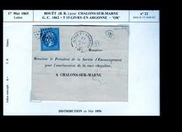 "Un Timbre N° 22   émis En 1862    : GC  1862  + T 15  Givry - En -Argonne  + ""  OR   "": Lettre   1865 - 1863-1870 Napoleon III With Laurels"