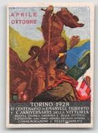 """07946 """"TORINO 1928 - IV CENTEN. EMANUELE FILIBERTO E X ANNIV. VITTORIA - APRILE / OTTOBRE"""" ERINNOFILO MAI APPLICATO - Erinnofilia"""