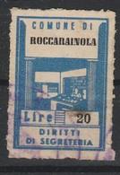 Roccarainola. Marca Municipale Diritti Di Segreteria L. 20 - Italia