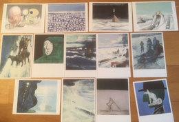 Norway -  Polar Research,  Cards In Colors Of Tore Hansen, Ulf Nilsen, Håvard Vikhagen, Norwegian Painters Unused Card - Norvegia