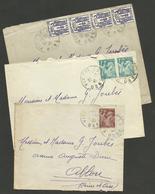 1945 / Tarif 2F / Lot 3 Lettres De VIMOUTIERS - ORNE / Affr. Iris & Chaine - Marcophilie (Lettres)