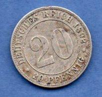 Allemagne   - 20 Pfennig 1892 A -  Km # 13 --  état  TB+ - [ 2] 1871-1918 : German Empire