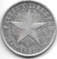 *cuba 40 Centavos 1920 Km 14.3 - Cuba