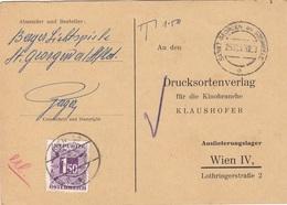 ÖSTERREICH NACHPORTO 1957 - 1,5 S Nachporto Auf Pk Drucksortenverlag Für Kinobranche, Gel.v. St.Georgen Am Steinfeld > W - Segnatasse