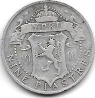*cyprus 9 Piastres 1901  Km 6  Fr+ - Chypre