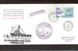 Vio - TAAF PO129 Du 10.12.1987 Terre Adélie - M/S POLARBJORN  Antarctic Opérations - Lettres & Documents