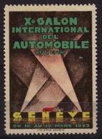 GENEVE GENF Salon Exhibition Oldsmobile Oldtimer Veteran Auto Car AUTOMOBILE 1933 Switzerland Label Vignette Cinderella - Coches