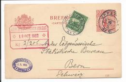 Schweden P 30   -  10 Öre Gustav  M. Rs. Zudruck M. 10 Öre ZF V. Uppsala Nach Bern Bedarfsverwendet - Entiers Postaux