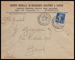 10509 Lettre Cover Bouches Du Rhone N°142 Semeuse Marseille Rue De La République A4 Pour Genova Italie (italy) 1907 - 1877-1920: Semi Modern Period
