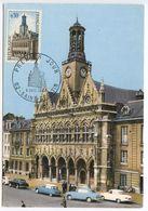 France 1967 Scott 1185 FDC Postcard Saint-Quentin City Hall - 1960-69