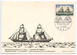 France 1965 Scott B391 FDC Postcard Stamp Day, Packet Ship La Guienne - 1960-69
