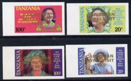 1916 Tanzania 1985 Life & Times Of HM Queen Mother Imperf Proof Set Of 4 With 'Caribbean Royal Visit 1985'  (royalty) - Tanzania (1964-...)