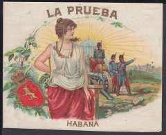 T128 CUBA SPAIN LA PRUEBA. B. MENENDEZ Y HNO TOBACCO. HABILITACION DE TABACO. - Labels