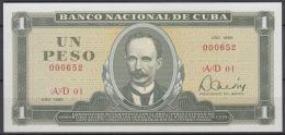1985-BK-187 CUBA REPUBLICA. 1$ 1985 JOSE MARTI UNC. Nº. 000652. - Cuba