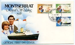 Montserrat 1981 Scott 465/469 FDC Prince Charles & Lady Diana Wedding - Montserrat