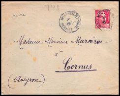 2756 France N° 719a Gandon 02/02/1947 Rare Montpellier Gare Seul Sur Lettre (cover) - Storia Postale