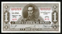 """BOLIVIA BILLETES; 1928 - 1 BOLIVIANO """"EMISIÓN 1952"""". - Bolivia"""