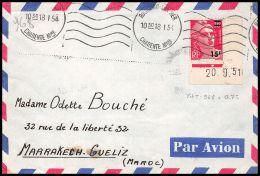 3088 France N° 968 Gandon Coin De Feuille Daté Rochefort Sur Mer Pour Maroc 18/1/1954 Seul Sur Lettre (cover) - Storia Postale